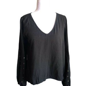 For Love & Lemons Black Knit Tee With Metal Button